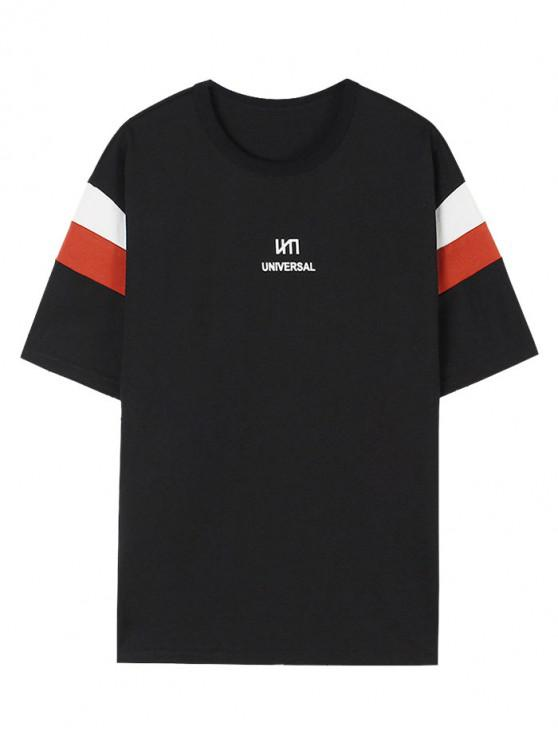 Universal Letter Colorblock Panel T-shirt - أسود M