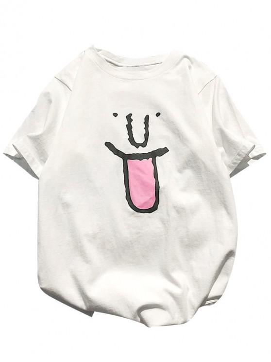 Funny Cartoon Pattern Basic T-shirt - الأبيض الدافئ M