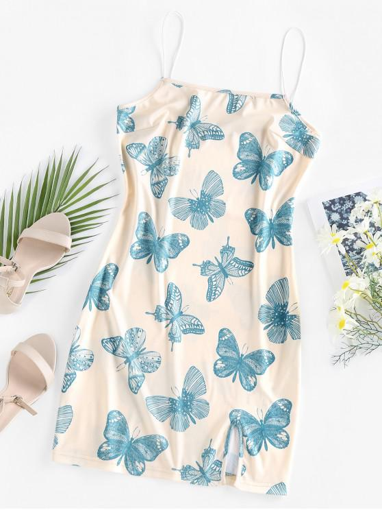 unique Slit Butterfly Print Mini Cami Dress - LIGHT YELLOW S