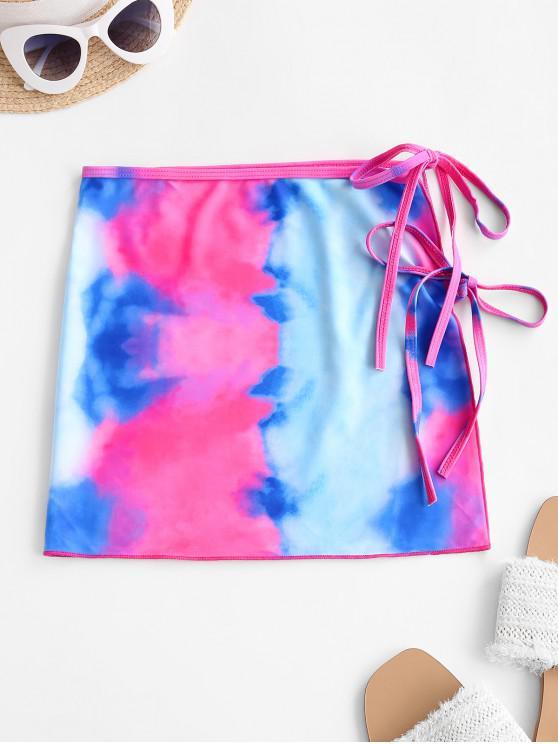 ZAFUL Tie Dye Dual Ties Swim Skirt - أحمر M