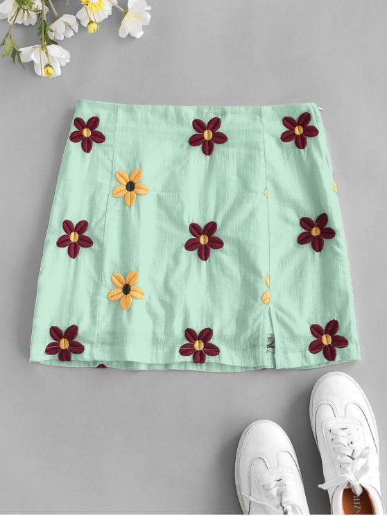 women Flower Embroidered Slit A Line Skirt - GREEN S