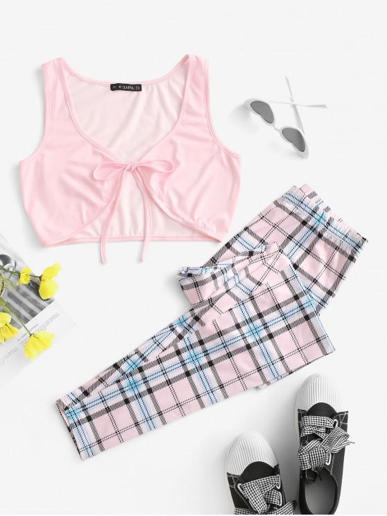 new Checked Tie Front Two Piece Set - LIGHT PURPLE L