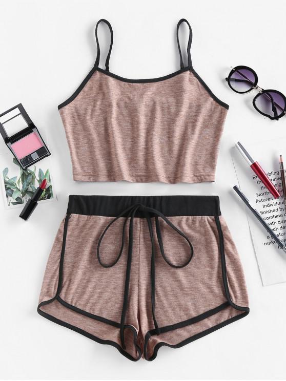 shop ZAFUL Contrast Trim Camisole And Dolphin Shorts Set - DARK KHAKI XL