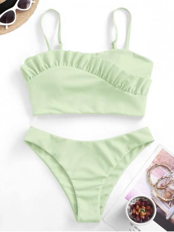 ZAFUL Textured Ruffle Cami Tankini Swimwear - اخضر فاتح L
