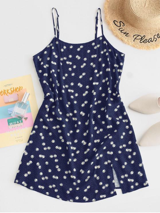 chic ZAFUL Daisy Floral Slit Cami Mini Dress - DEEP BLUE M