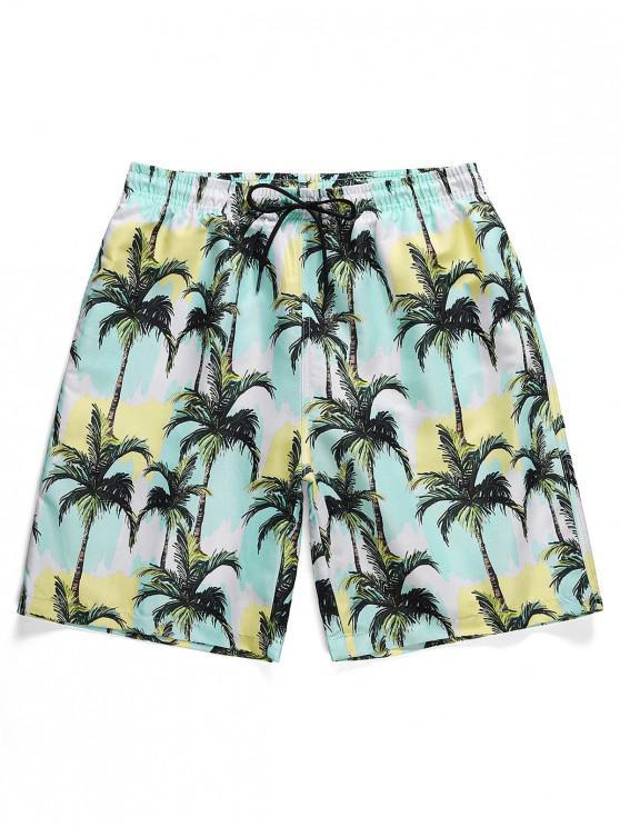 lady Coconut Tree Paint Print Board Shorts - SEA BLUE 2XL