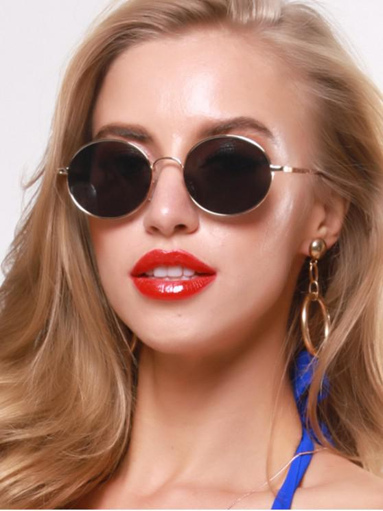 shop Oval Metal Retro Sunglasses - BLACK