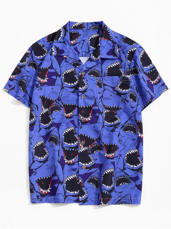 Camisa de Playa con Botón y Bolsillo de Estampado de Tiburón - Multicolor M