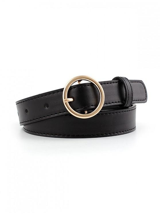 trendy PU Round Buckle Belt - BLACK GOLD