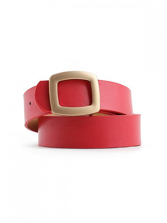 outfits Hollow Square Buckle Wide Belt - RED