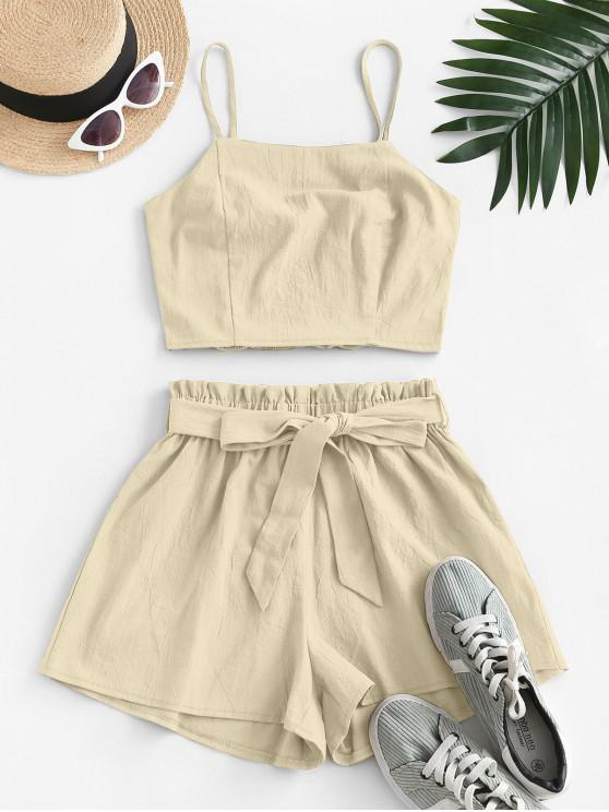 shop ZAFUL Smocked Back Belted Paperbag Shorts Set - LIGHT COFFEE M