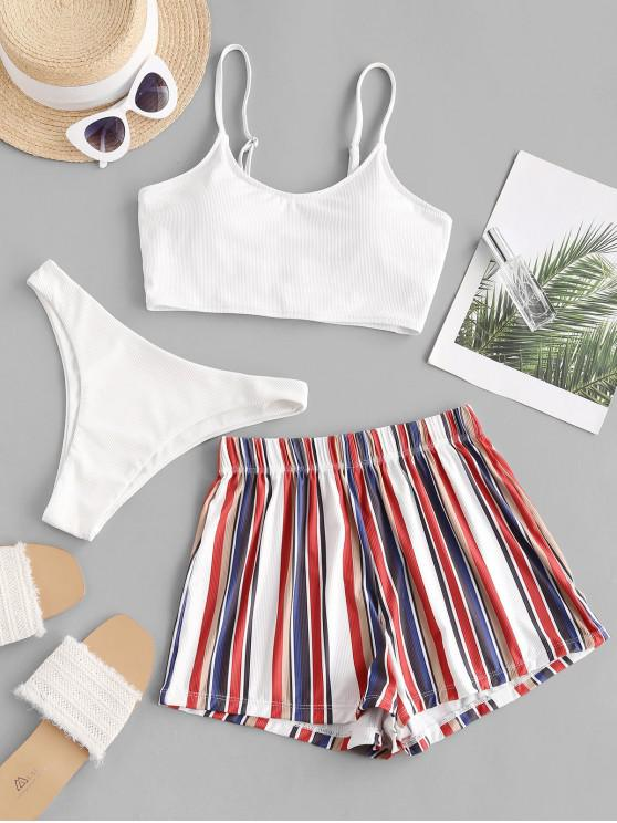 shops ZAFUL Striped Ribbed Three Piece Bikini Swimsuit - WHITE M