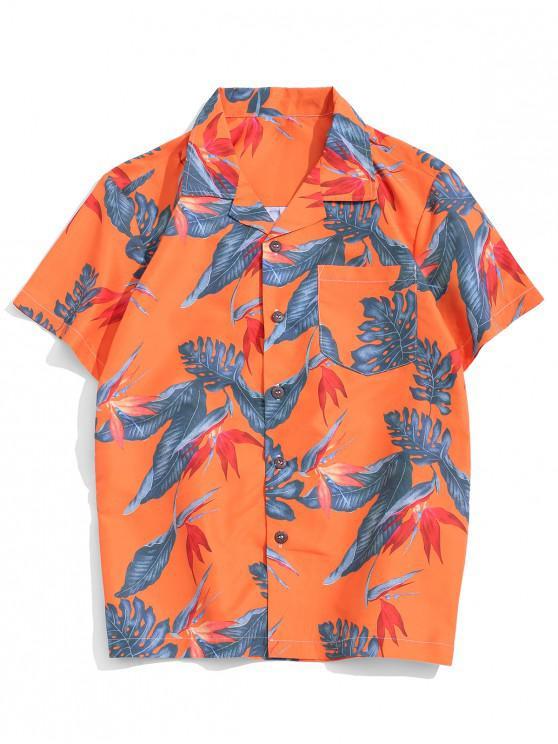 Tropical Plant Print Pocket Vacation Shirt - متعددة-B L