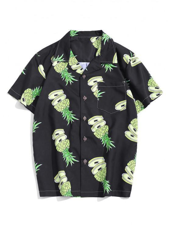 women Pineapple Pattern Pocket Patch Vacation Shirt - MULTI L