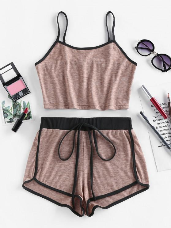 outfits ZAFUL Contrast Trim Camisole And Dolphin Shorts Set - DARK KHAKI L