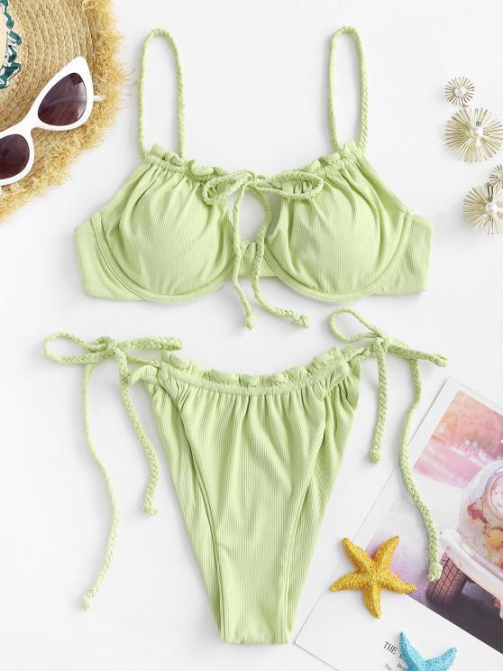 ZAFUL Geflochtener Bikini Badebekleidung mit Gerippten Bügeln - Hellgrün S