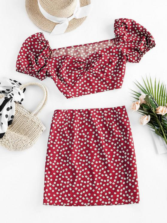 lady ZAFUL Ditsy Floral Puff Sleeve Ruched Two Piece Set - RED M