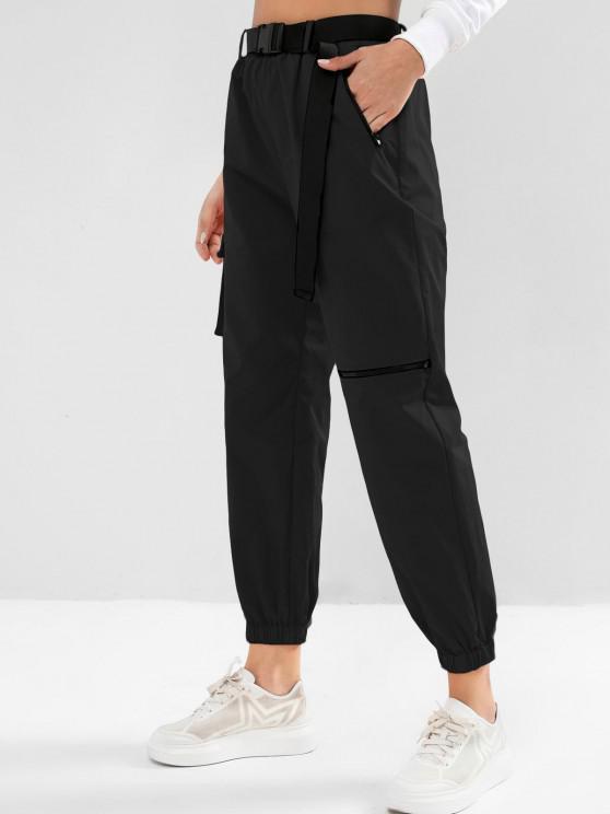 ladies ZAFUL Zipper Pockets Belted Windbreaker Jogger Pants - BLACK M