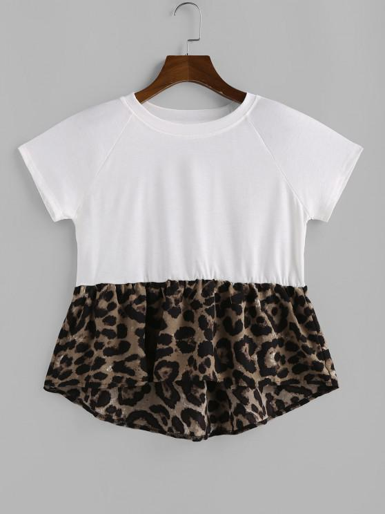 sale Raglan Sleeve Leopard Print Hem Extender T Shirt - WHITE S