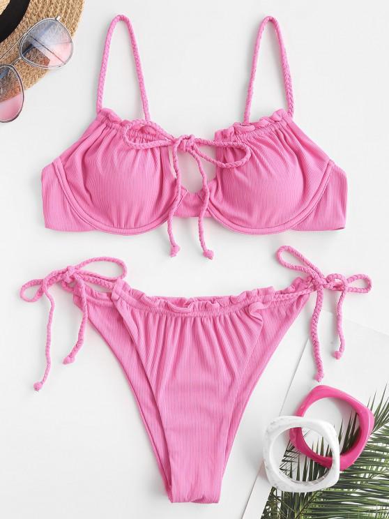 ZAFUL Love At First Sight Braided Tie Bikini - وردي فاتح L