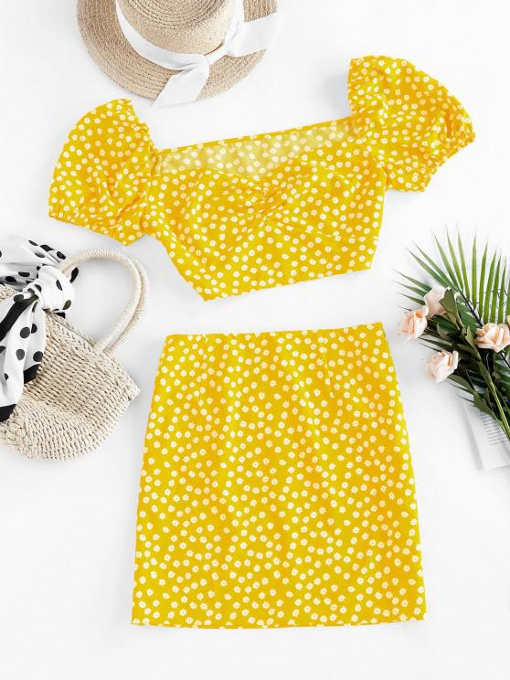 ZAFUL Ditsy Floral Puff Sleeve Ruched Two Piece Set - الأصفر S