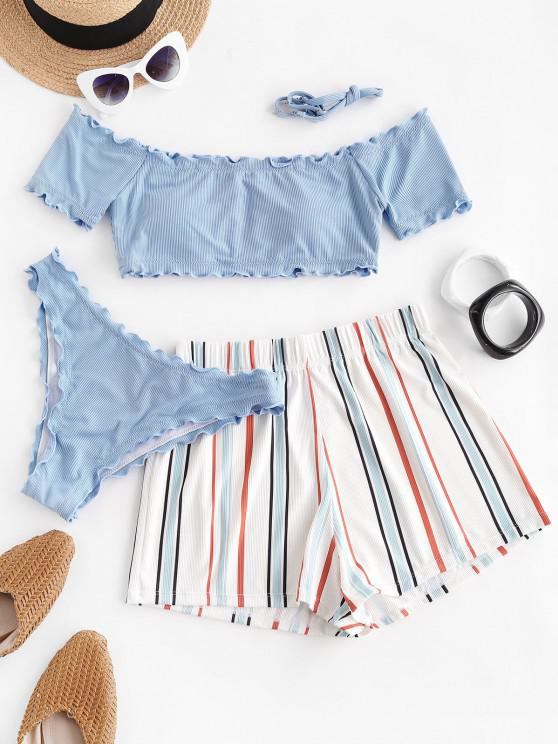 outfits ZAFUL Lettuce-trim Off Shoulder Ribbed Three Piece Bikini Swimsuit - LIGHT BLUE L
