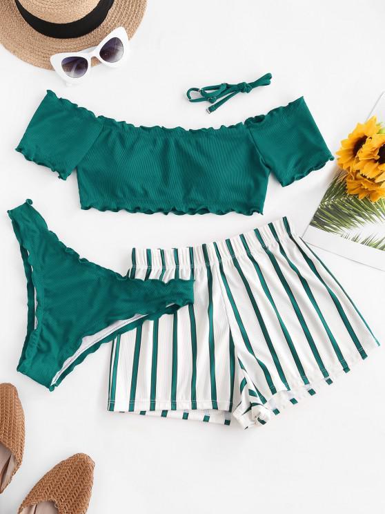 fancy ZAFUL Lettuce-trim Off Shoulder Ribbed Three Piece Bikini Swimsuit - DEEP GREEN S