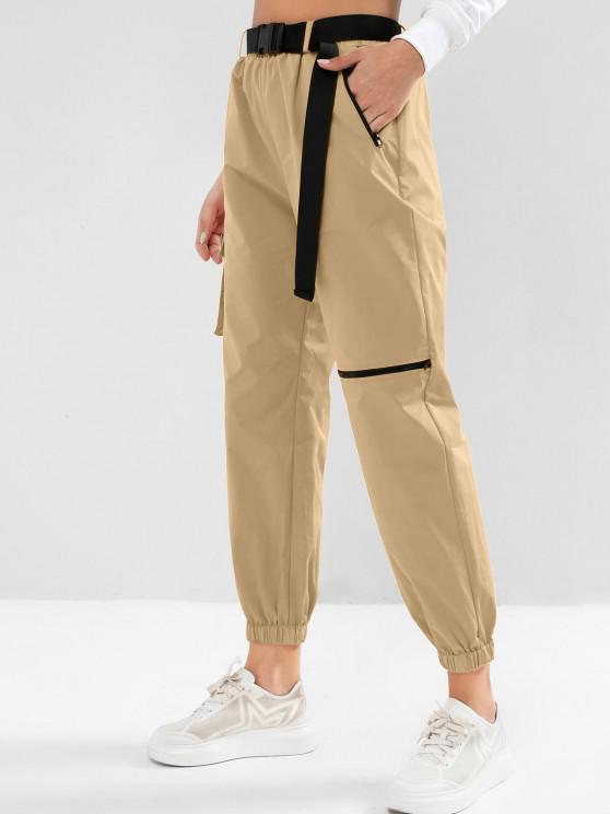 women ZAFUL Zipper Pockets Belted Windbreaker Jogger Pants - LIGHT COFFEE L