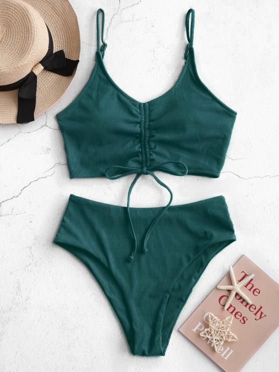 womens ZAFUL Ribbed Cinched High Waisted Tankini Swimsuit - DEEP GREEN L