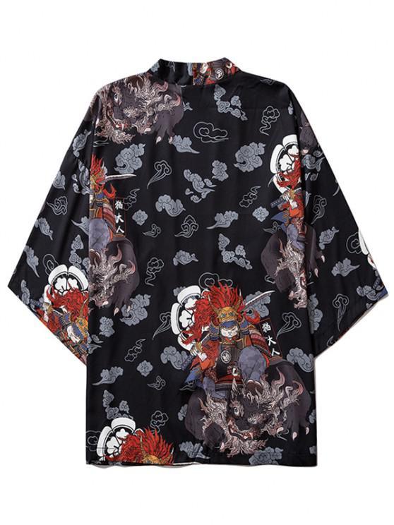 Open Front Samurai Cat Graphic Kimono Cardigan - أسود XL