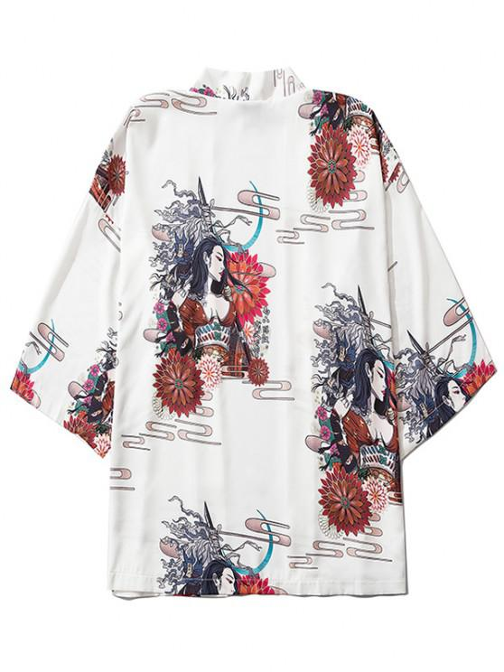 women Open Front Floral Geisha Samurai Print Kimono Cardigan - WHITE L