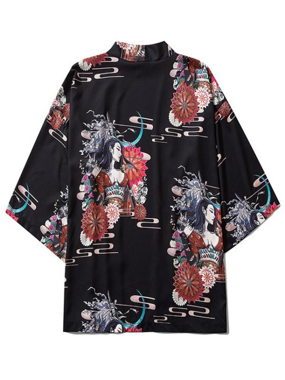 Open Front Floral Geisha Samurai Print Kimono Cardigan - أسود M