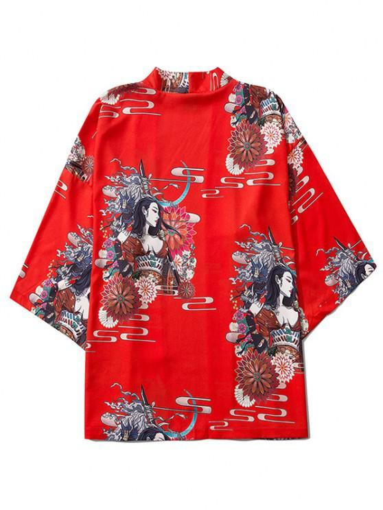 affordable Open Front Floral Geisha Samurai Print Kimono Cardigan - RED M