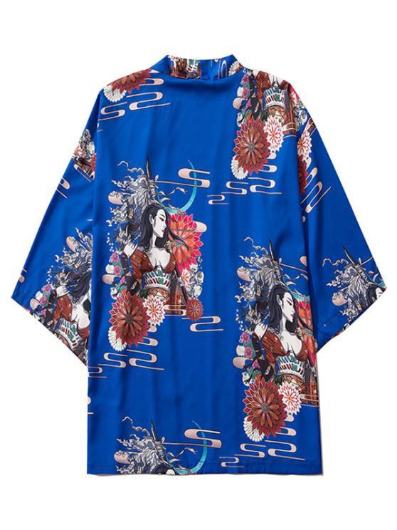 women's Open Front Floral Geisha Samurai Print Kimono Cardigan - COBALT BLUE 2XL