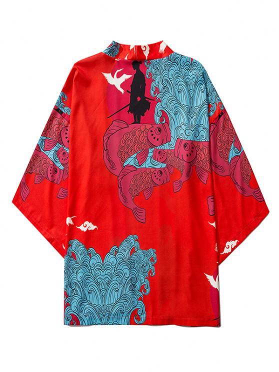 Koi Fisch Wellen Unterbrust Beleuchtet PatchPet Brustgurte - Rubin Rot 2XL