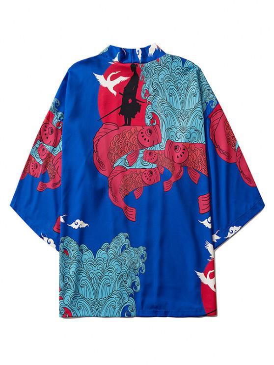 Koi Fish Waves Samurai Open Front Kimono Cardigan - Blueberry Blue XL