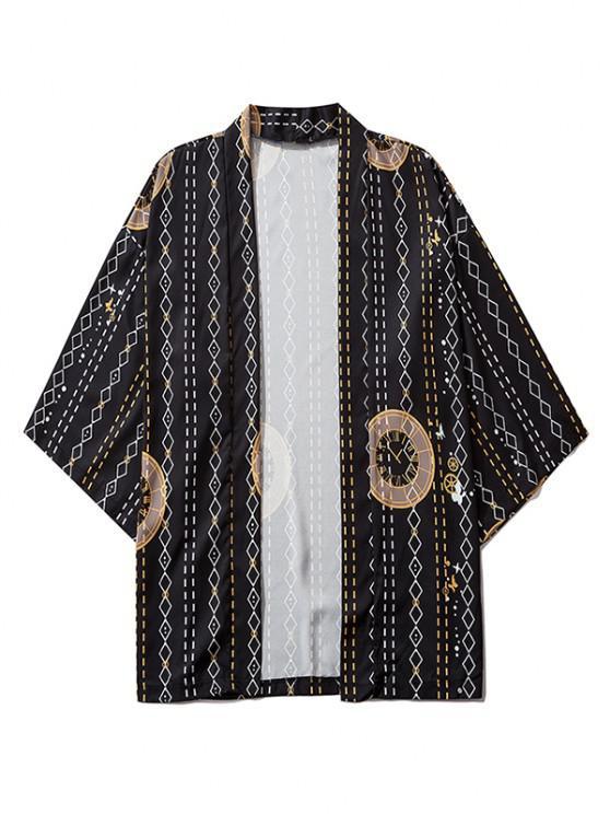 lady Open Front Clock Geometric Print Kimono Cardigan - BLACK M