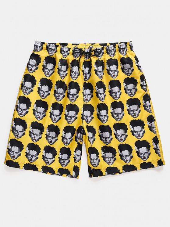 fashion Figure Head Pattern Elastic Waist Shorts - SUN YELLOW XL