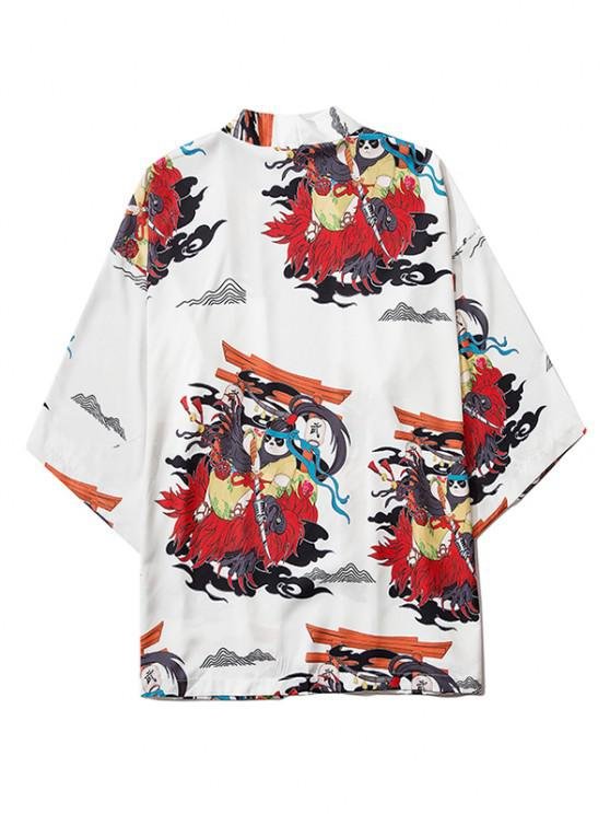 buy Open Front Panda Samurai Graphic Kimono Cardigan - MILK WHITE 2XL