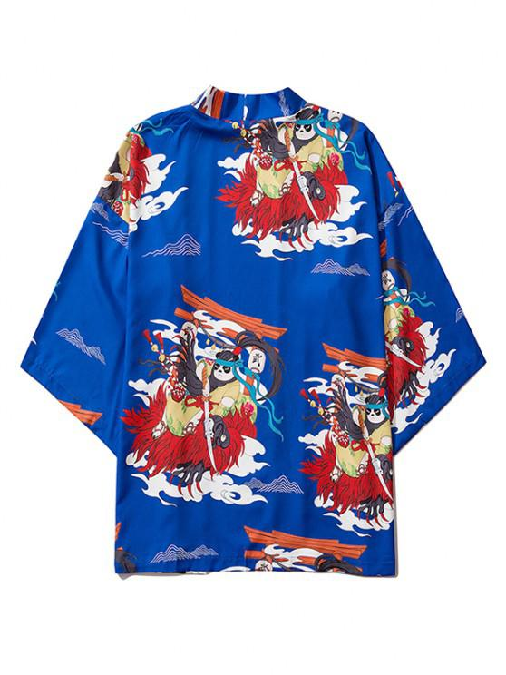 hot Open Front Panda Samurai Graphic Kimono Cardigan - COBALT BLUE M