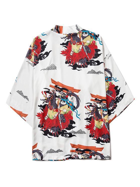 fashion Open Front Panda Samurai Graphic Kimono Cardigan - MILK WHITE M