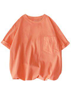 Solid Color Front Pocket Round Collar T-shirt - Orange Pink 3xl