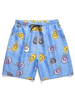 Funny Graphic Pattern Vacation Shorts - Sky Blue M