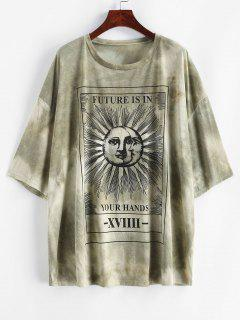Sun And Moon Letter Print Loose Tee - Green M