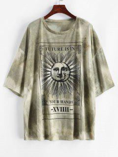Camiseta SueltaconEstampadode Sol,LunayLetras - Verde L