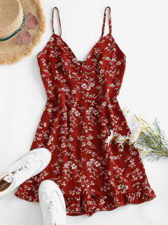 ZAFUL Floral Ruffle Smocked Wide Leg Cami Romper - Red S