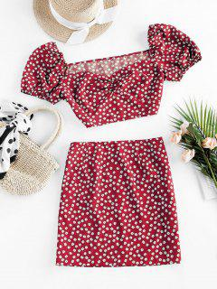 ZAFUL Ditsy Floral Puff Sleeve Ruched Two Piece Set - Red L