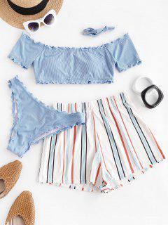 ZAFUL Lettuce-trim Off Shoulder Ribbed Three Piece Bikini Swimsuit - Light Blue L