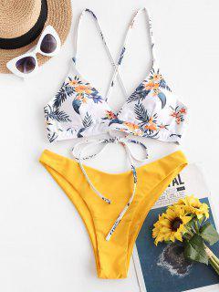 ZAFUL Hochgeschnittener Bikini Badebekleidung Mit Blumenmuster - Dunkel Gelb M