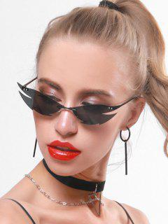 Punk Catty Eye Rimless Sunglasses - Black